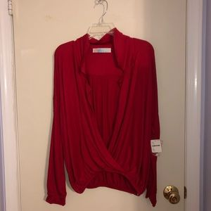 Free People Red Crossover Blouse